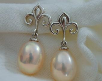 Hanae -  Fleur de Lis Continuum® Sterling Silver Pearl Dangle Earrings FREE SHIP USA