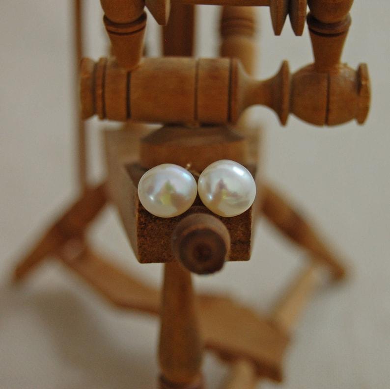 FREE SHIPPING Vanora OOAK white-blush Freshwater pearl stud earrings set in 14kt gold