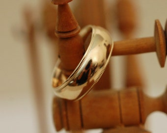Amin - Vintage wedding band, solid 14kt yellow gold, for man or woman