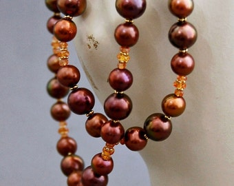 Akrya - Pearl Necklace With Sapphire and 14k Gold Beads