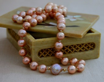 Greta - Unique Freshwater Pearl Necklace, 14kt gold, FREE SHIP US