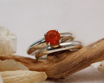Adan - Mexican Fire Opal ring, diamond alternative engagement ring