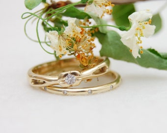 Aina - Custom Made Engagement Ring features Moissanite, Emerald, or other gemstone of your choice.