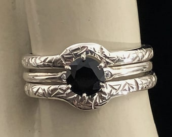 Artimis - Custom made wedding set in Platinum Silver PT950 or guard ring(s) or solitaire engagement ring