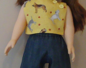 Top and shorts for American Girl size or 18 inch doll, american girl shorts, american girl top, 18 inch shorts, 18 inch top, yellow doll top