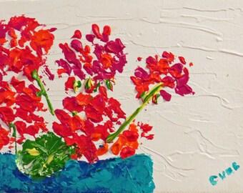 Red Geraniums Aqua Turquoise Pot - Acrylic 5 x 7 -Original- Cynthia Van Horne Ehrlich-Home Decor-Gift-Wedding Gift-Floral-Spring-Affordable