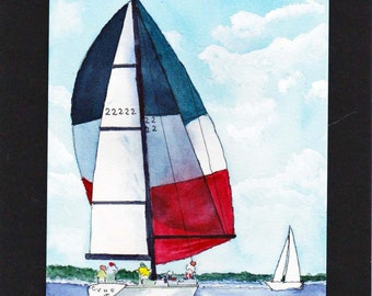 SailBoat Red White Blue #3 Maine Watercolor-Seascape-Wedding-Man Gift-Art Collector-Original