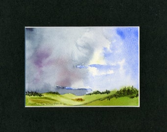 Maine Stormy Sky Watercolor-Landscape-Wedding-Man Gift-Art Collector