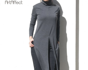 13c4948f74c Turtleneck Long Top with High Slit