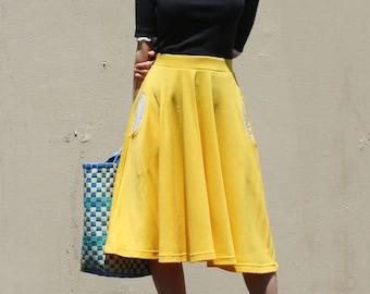a38bc6aeb89 Full Circle Skirt with Pocket  Midi Circle Skirt   Yellow Skirt   Plus Size  Skirt   Knee Length Skirt  Swing Skirt   Dance Skirt  Full Skirt