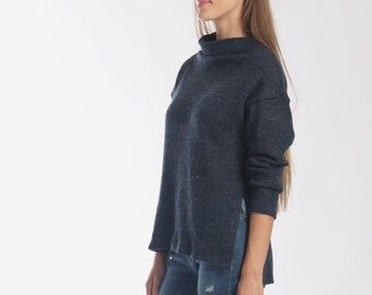 Navy Wool Mock Neck Sweater with Side Split  Blue Wool Jumper   Oversized  Sweater   Funnel Neck Pull Over   Loose Top  Gift for Mom 79488c8e4