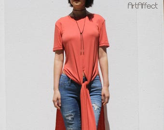 0280b6dcce90 Long Tunic   Orange Tunic   T-Shirt Dress   High Split Top   Tie Front Top    Long Shirt   Plus Size Top   High Slit Top  Side Slit Top  SALE