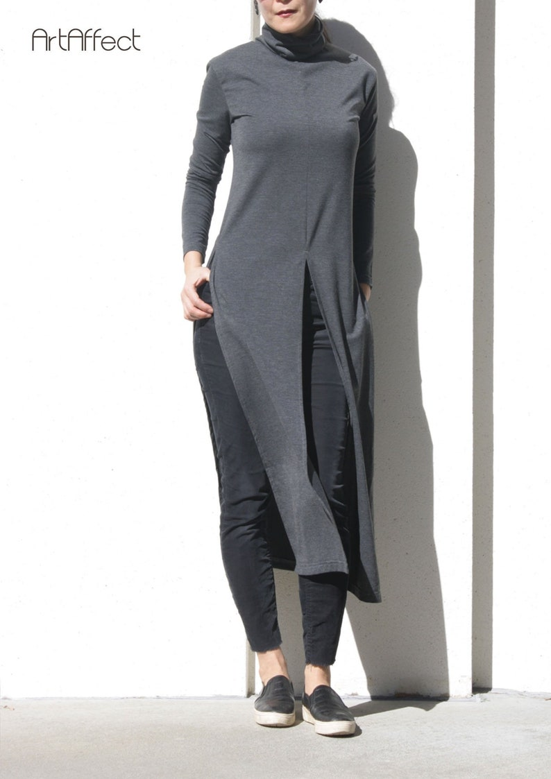 f03cdce2523 Turtleneck Long Top with High Slit Long Tunic Loose Sweater