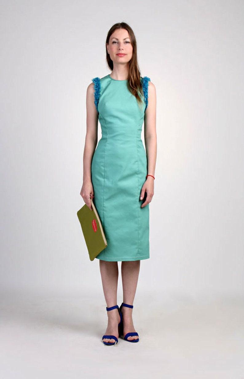 d964766e34 Robe fourreau à la menthe / Midi robe / robe bleue / Denim   Etsy