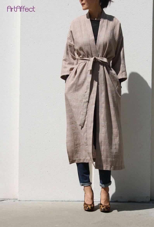 45c48a28b09737 Long Kimono Jacket Kimono Robe Boho Kimono Linen Kimono | Etsy