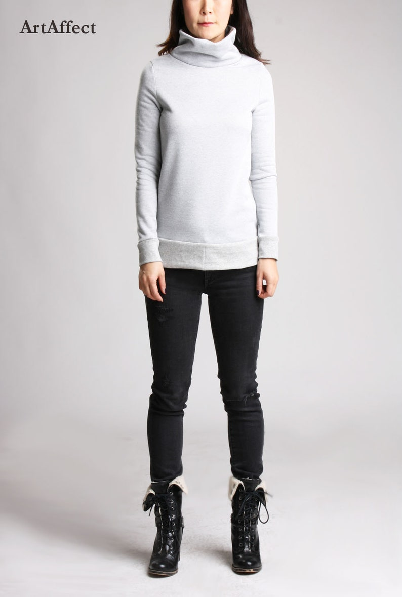 b791bdef503 Gray Funnel Neck Sweater Warm Turtleneck Sweater Funnel Neck