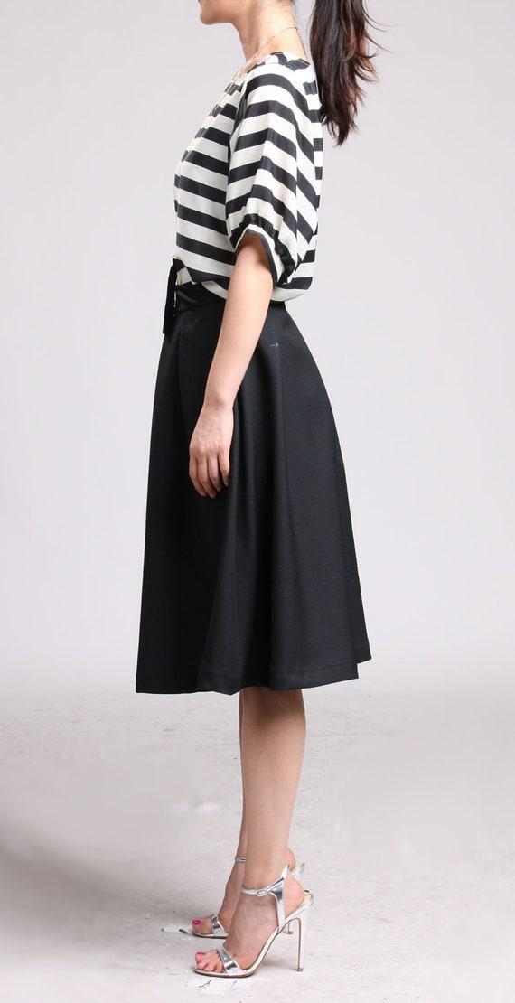 Skirt Skirt Length Midi Knee Skirt Pleated Skirt Skirt Swing Wool Circle Office Black Skirt Full Skirt Wool in Skirt zq8UX