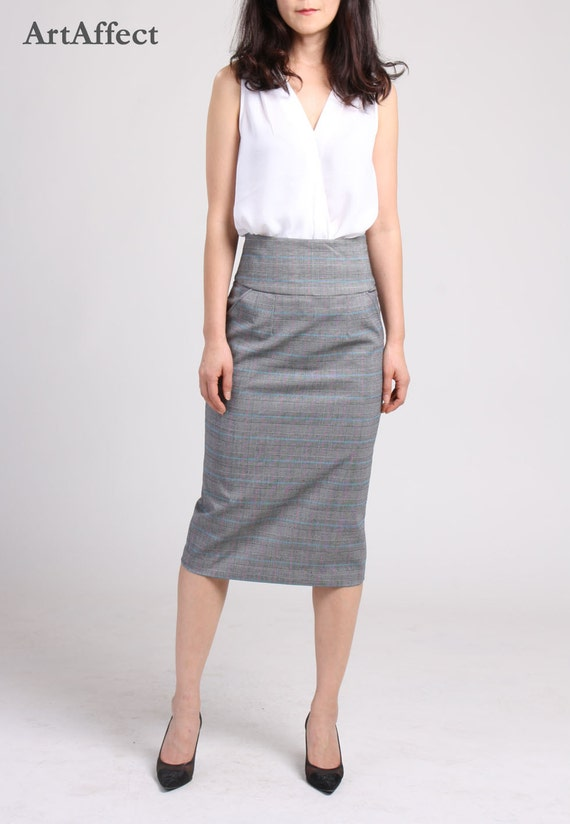 High Waist Pencil Skirt with Pocket, Checker Pencil Skirt, Straight Skirt, Office Skirt, Wear to Work Skirt, Knee Length Skirt, Suit Skirt