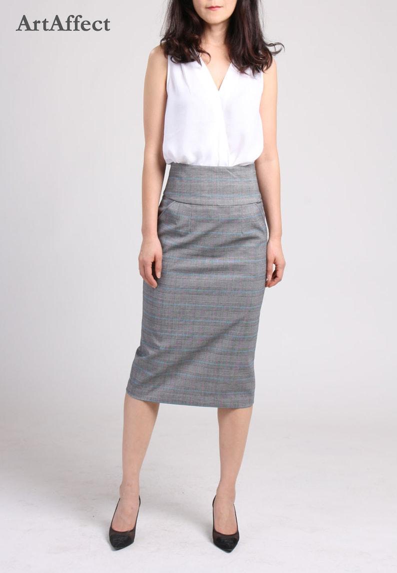 Nieuw Hoge taille kokerrok met zak checker Potlood rok rechte rok   Etsy PP-68
