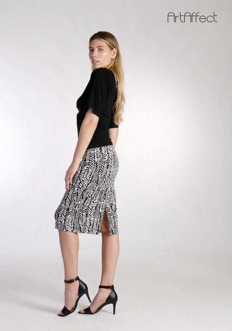 809750370e11c7 Herringbone Pencil Skirt / Midi Skirt / Straight Skirt / Black | Etsy