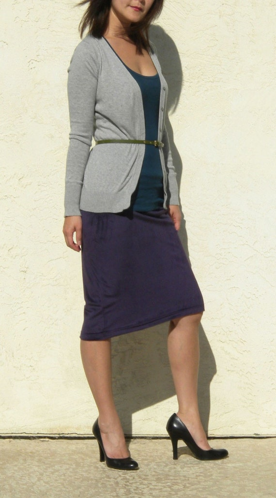 Clearance Purple Velvet Pencil Skirt, Pull On Skirt, Jupe d'hiver, Jupe de vente, Jupe longueur genou, Jupe Wear to Work, Jupe office