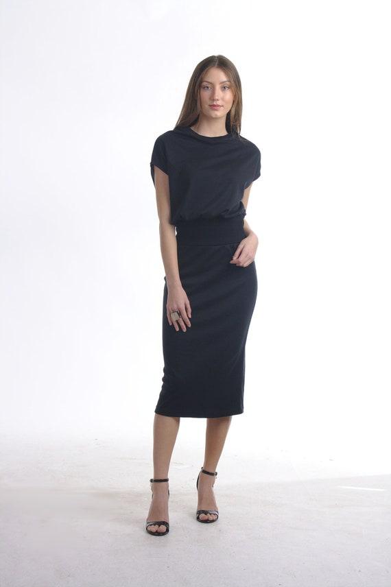Black Blouson Midi Dress with Drop Shoulder / Pencil Skirt Dress/ Slim  Party Dress/ Plus Size Dress/ Office Dress/ Summer Dress/Sheath Dress