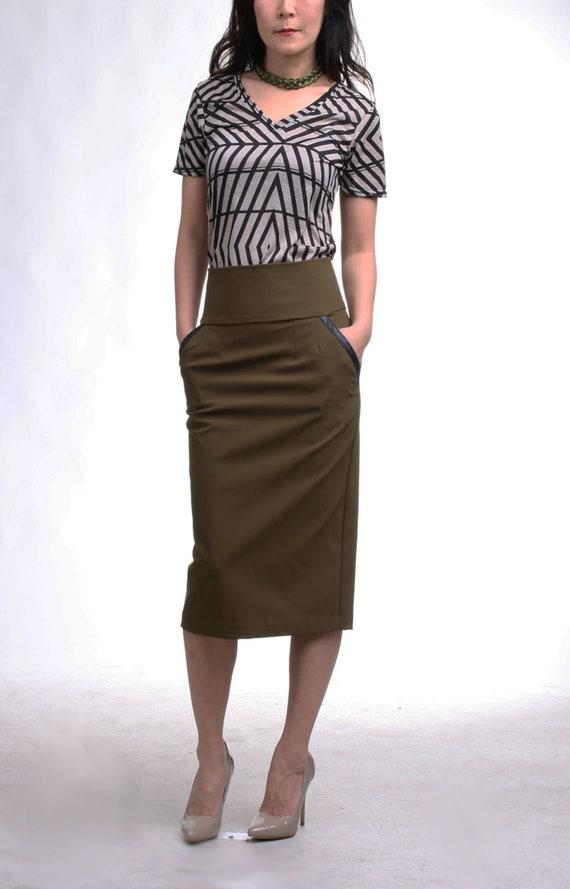 Khaki High Waist Pencil Skirt Pocket, Straight Midi Skirt, Knee Length Skirt, Office Suit Skirt, Plus Size Work Skirt, Slim Fit Skirt