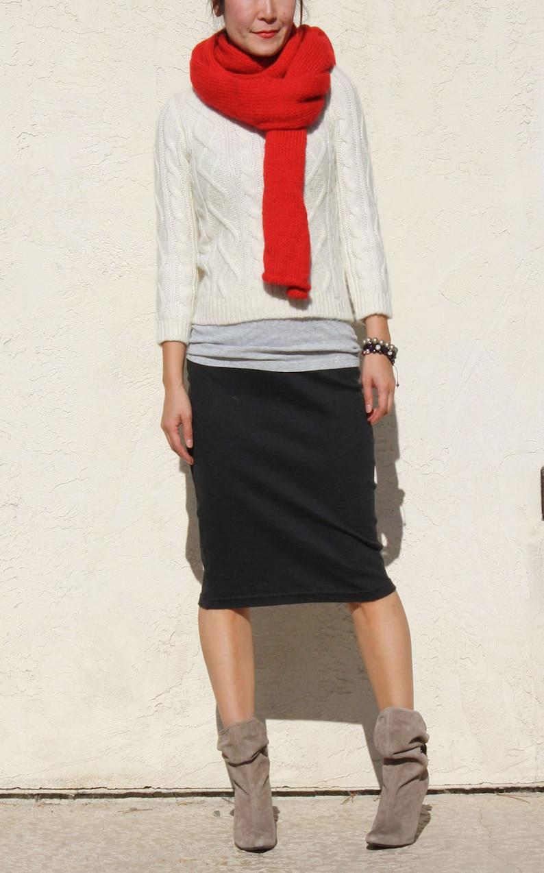 Black Pencil Skirt / Midi Skirt /  Straight Skirt / Plus Size image 1