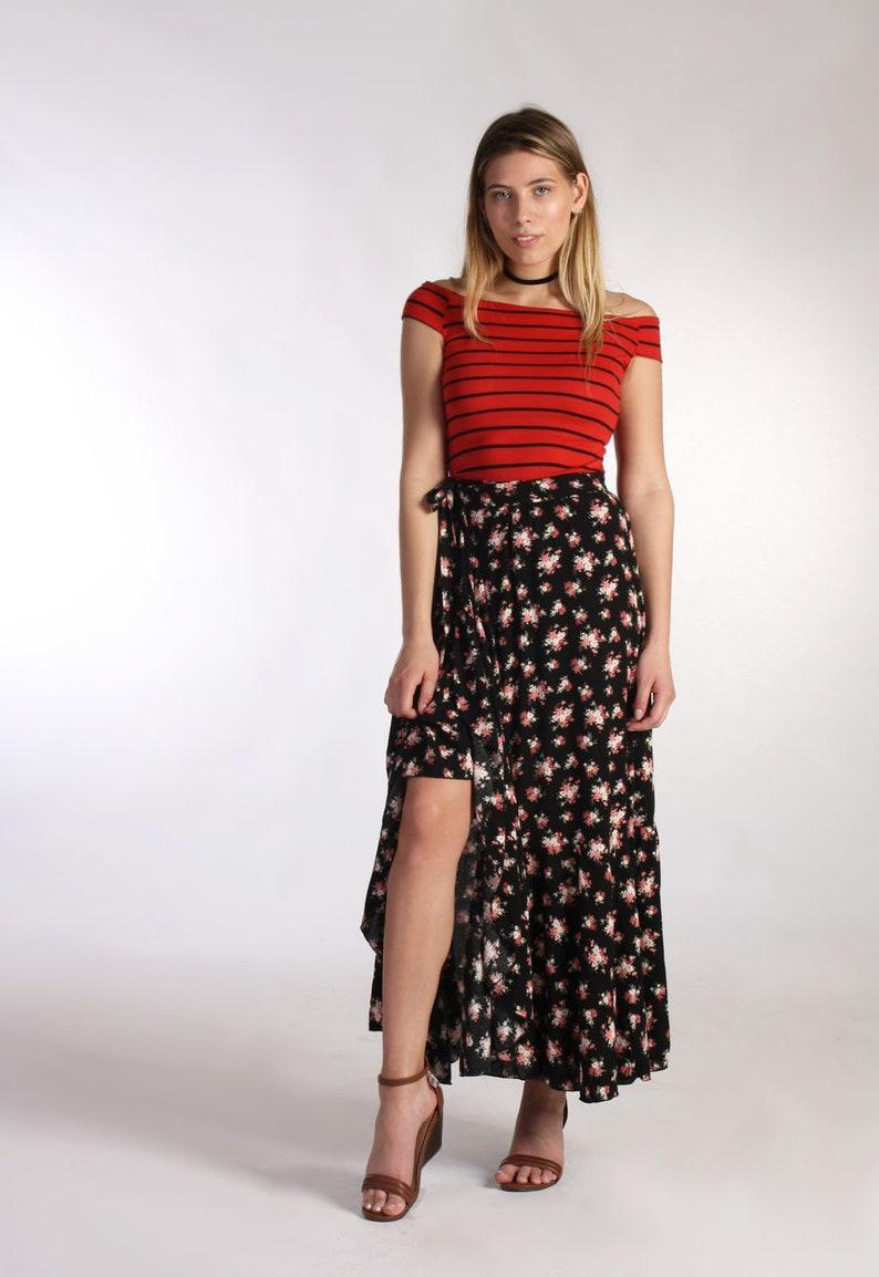 75e0aeba58 Boho Maxi Ruffle Skirt Skirt Maxi Skirt Wrap Skirt Black | Etsy