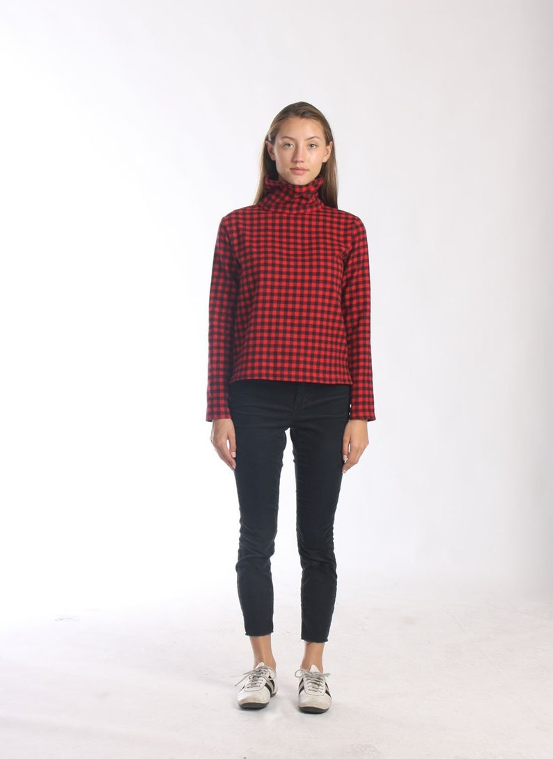 Why Its Good To Pull Over To Side Of >> Funnel Neck Pull Over With Side Split Plaid Winter Sweater Etsy
