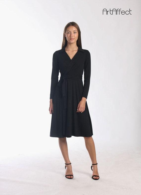 0c6f068df012 Black Wrap Full Dress with Collar / Wrap Around Dress / Collar | Etsy