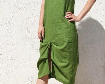 Linen Dress / Sun Dress / Midi Dress / Summer Dress / Sleeveless Dress / Loose Dress / Draped Dress / Moss Green Dress / Front Slit Dress