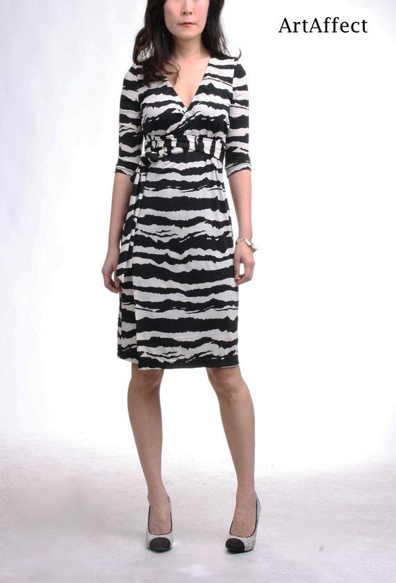 Wrap Dress with three quarter length sleeve  Black and White  acb86d31a