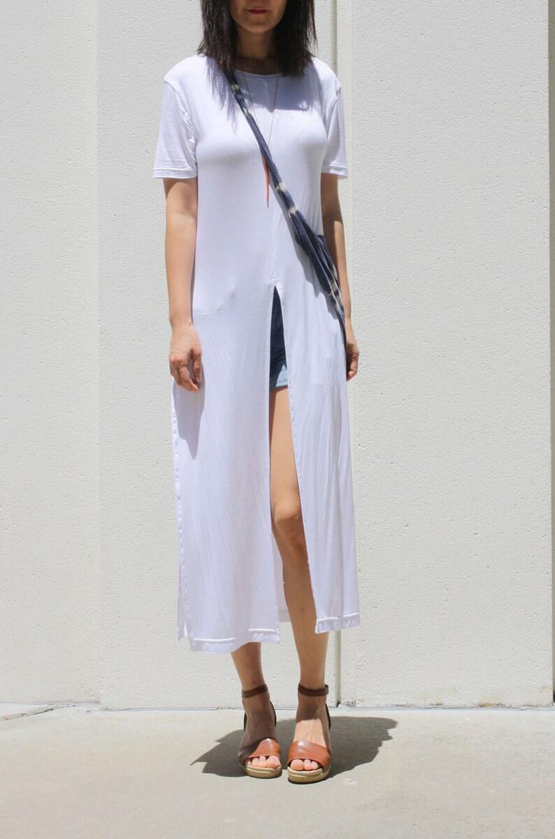 Front Split Long Tunic / White Tunic / T-Shirt Dress / Summer | Etsy
