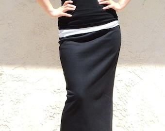Maxi Skirt / Black Skirt /Plus Size Skirt / Straight Skirt /Jersey Skirt / Office Skirt / Knit Skirt / Everyday Long Skirt / Slim Skirt/SALE