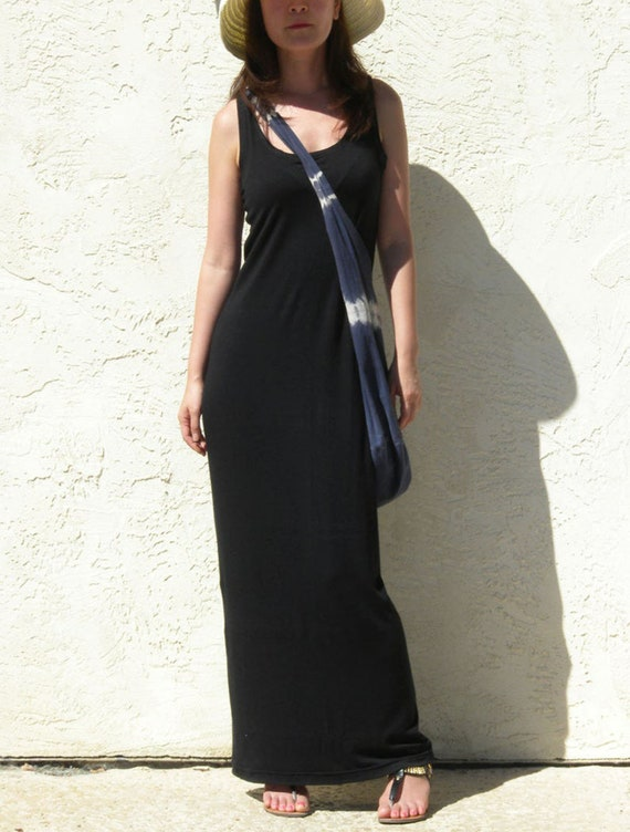 Black Tank Top Maxi Dress / Summer Maxi Dress / Straight Maxi Dress / Plus  Size Maxi Dress/ Boho Maxi Dress / Beach Festival Dress