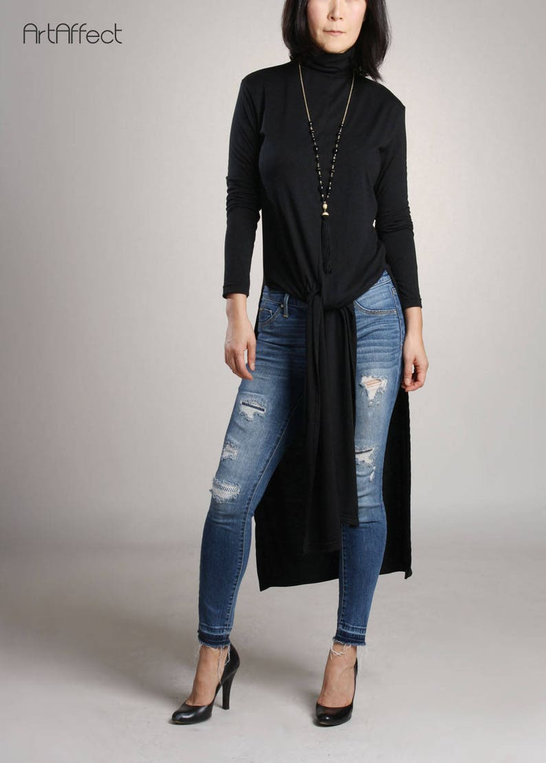 73073c97727 Turtleneck Long Top with High Slit Long Tunic Loose Sweater