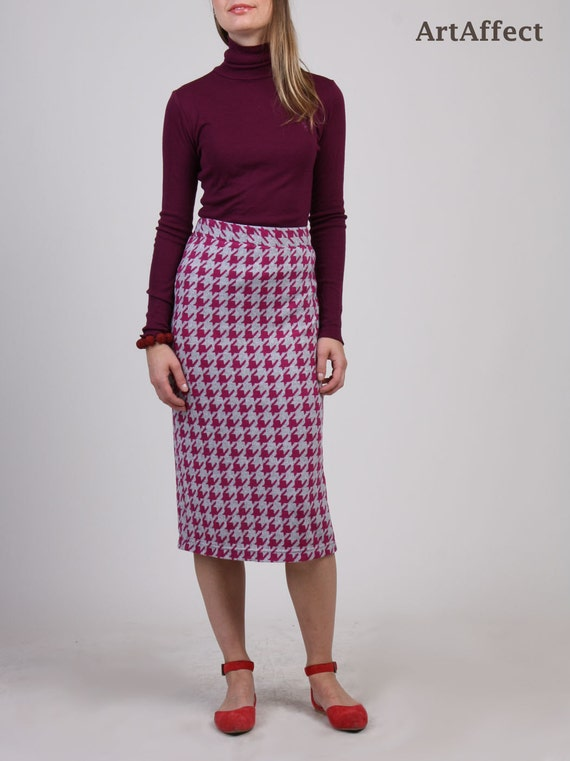 9231cdf5d Houndstooth Skirt Midi Skirt Sweater Knit Pencil Skirt | Etsy