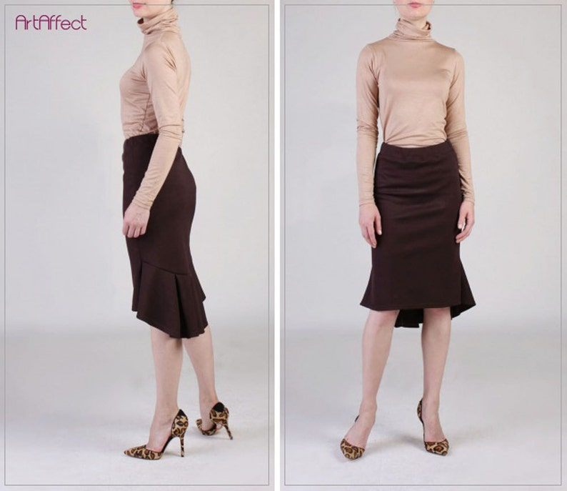 518ecf83a1f Brown Fishtail Skirt with Back Pleat Ruffle Skirt Winter