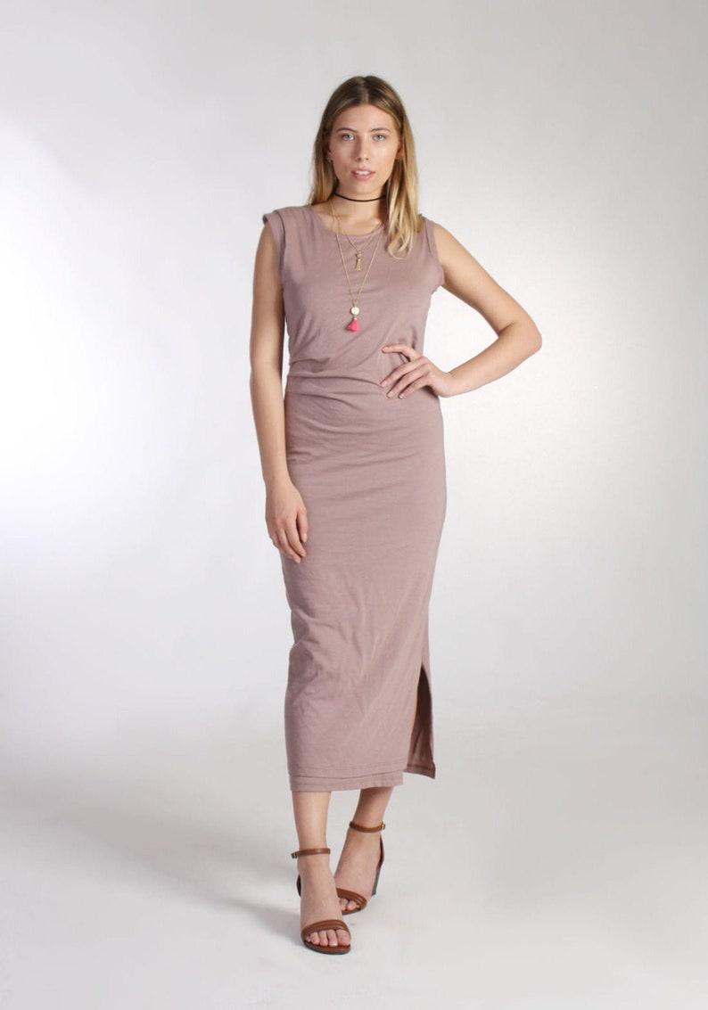 d454bb1cd3f50 Pink Ruched Dress / Boho Maxi Dress / Midi Dress / Side Split Dress /  Sleeveless Summer Dress/ T-Shirt Dress / Tank Top Dress/Straight Dress
