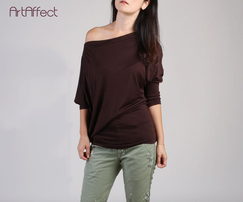 d9f16045cca Brown Off Shoulder Top   Batwing Top   Boat Neck Blouse   Off