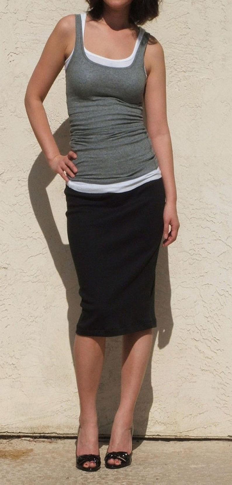 Black Pencil Skirt / Midi Skirt /  Straight Skirt / Plus Size Black