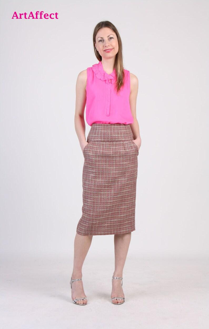 fd167d3d4ebb High Waist Pencil Skirt / Midi Skirt /Pink Tweed Skirt / | Etsy