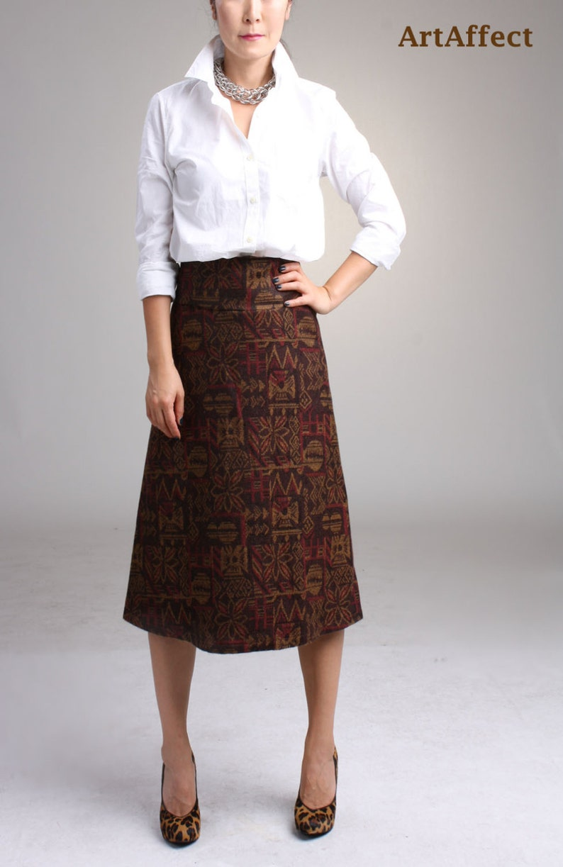 4389af5bc0 Wool Midi Skirt in Vintage Style Winter Skirt Wool Aline | Etsy