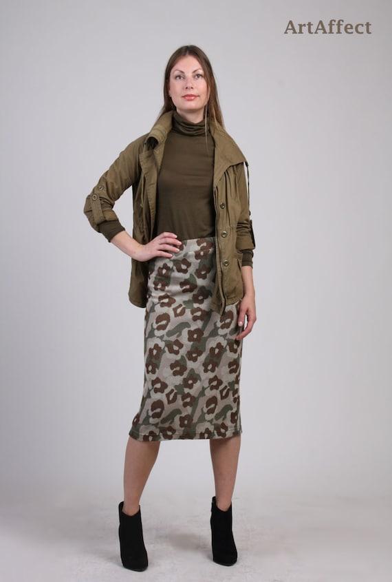 95449289feef8 Sweater Knit Midi Skirt Knit Pencil Skirt Winter Skirt