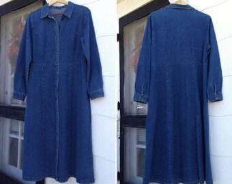 Vintage 90's Long Sleeve Denim Minimalist Dress Maxi Boho Dress Long Denim Dress Grunge Dress Size 18/Large Sizing ~ Boho Hippie Dress ~
