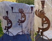 Vintage PAIR of Rustic Metal KOKOPELLI CANDLE Holders measuring 16.5 quot and 14.5 quot Tall Southwest Boho Home Decor Rustic Cabin Decor