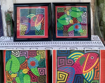 """Gorgeous PAIR of 12"""" Framed Vintage Hand Stitched Ornate Embroidered MOLA Textile Tropical FISH and Birds w/Floral & Geometric Designs ~"""