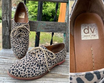 908362d7fb708 Adorable Vintage 90's Style Suede Leather Leopard Animal Print Tie Oxfords  Flats in a Women's Size 8.5 ~ Funky Street Shoes ~ Festival Wear