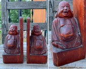 Awesome Old Vintage Carved Wood SMILING BUDDHA BOOKENDS measuring 8.5 quot x 4 quot x 3 quot each Buddhism Zen Decor Library Home Decor